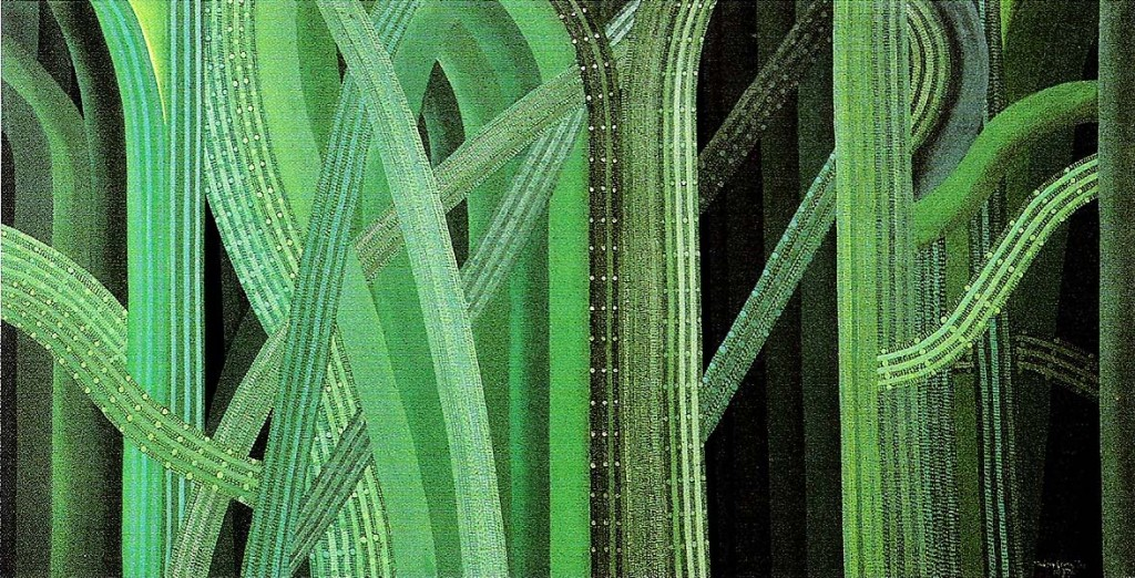 Maksim Sedej yr.: Nothing new about the nature, View in Fountain Green Oil on canvas, 135x270 cm, 1977