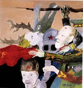 Maksim Sedej yr., Night of Generals, 1970 Tempera on carton, 47,5 x 51 cm